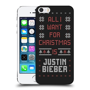 Official Justin Bieber Knitted Christmas All I Want For Christmas Hard Back Case For Apple Iphone 5 / 5S / Se