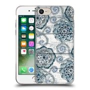 Official Micklyn Le Feuvre On Wood Shabby Chic Navy Blue Doodles Soft Gel Case For Apple Iphone 7