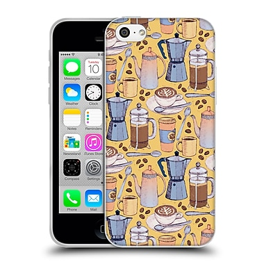 Official Micklyn Le Feuvre Patterns 2 Coffee Love On Yellow Soft Gel Case For Apple Iphone 5C