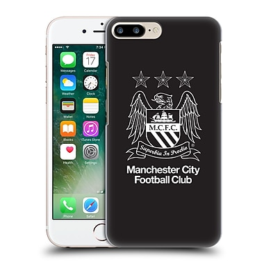 Official Manchester City Man City Fc Crest Outline White On Black Hard Back Case For Apple Iphone 7 Plus