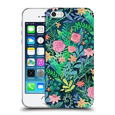 Official Micklyn Le Feuvre Floral Patterns 2 Roses And Green Messy Posie Soft Gel Case For Apple Iphone 5 / 5S / Se