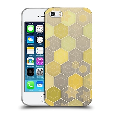 Official Micklyn Le Feuvre Hexagon Patterns Lemon And Grey Honeycomb Soft Gel Case For Apple Iphone 5 / 5S / Se