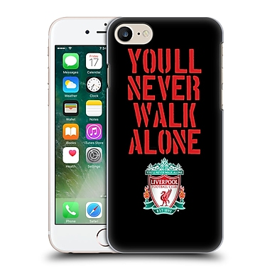Official Liverpool Football Club Crest Never Walk Alone Stencil Black Hard Back Case For Apple Iphone 7
