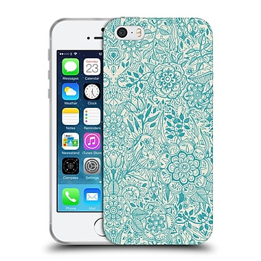 Official Micklyn Le Feuvre Floral Patterns Teal And Cream Soft Gel Case For Apple Iphone 5 / 5S / Se