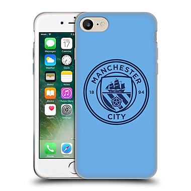 Official Manchester City Man City Fc Badge Blue Obsidian Mono Soft Gel Case For Apple Iphone 7