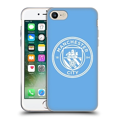 Official Manchester City Man City Fc Badge Blue White Mono Soft Gel Case For Apple Iphone 7