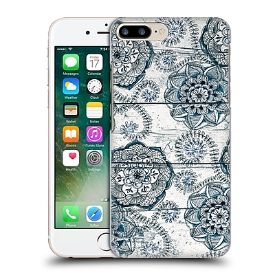 Official Micklyn Le Feuvre On Wood Shabby Chic Navy Blue Doodles Hard Back Case For Apple Iphone 7 Plus