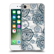 Official Micklyn Le Feuvre On Wood Shabby Chic Navy Blue Doodles Hard Back Case For Apple Iphone 7