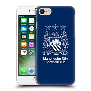 Official Manchester City Man City Fc Crest Outline White On Obsidian Hard Back Case For Apple Iphone 7