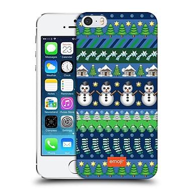 Official Emoji Christmas Patterns Blue Theme Hard Back Case For Apple Iphone 5 / 5S / Se