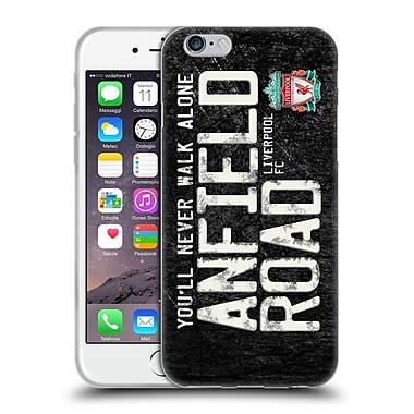 Official Liverpool Football Club Crest Never Walk Alone Anfield Road Black Soft Gel Case For Apple Iphone 6 / 6S