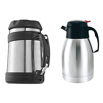 Brentwood Appliances  16 oz. Stainless Steel Food Jar/One 16 oz. Stainless Steel Coffee Thermos, Black, 2/Bundle (843631126172)