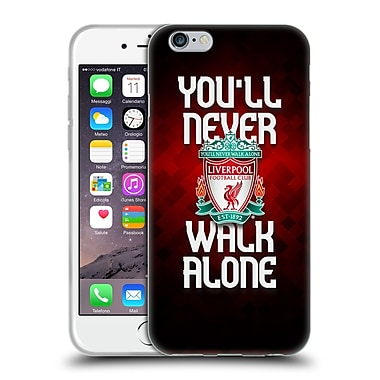 Official Liverpool Football Club Crest Never Walk Alone Red Pixel Plain Soft Gel Case For Apple Iphone 6 / 6S