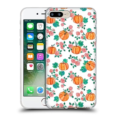 Official Micklyn Le Feuvre Floral Patterns 2 Pumpkins And Roses On White Soft Gel Case For Apple Iphone 7 Plus