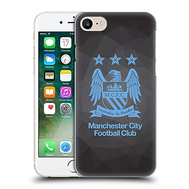 Official Manchester City Man City Fc Crest Geometric Black Geo Full Sky Blue Hard Back Case For Apple Iphone 7