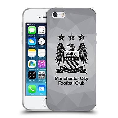 Official Manchester City Man City Fc Crest Geometric Grey Full Black Soft Gel Case For Apple Iphone 5 / 5S / Se
