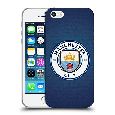 Official Manchester City Man City Fc Badge Pixels Obsidian Mosaic Full Colour Soft Gel Case For Apple Iphone 5 / 5S / Se