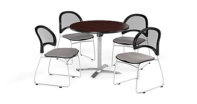 OFM 36 Inch Round Flip Top Mahogany Table and Four Putty Chairs (PKG-BRK-169-0046)