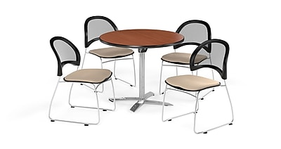 OFM 36 Inch Round Flip Top Cherry Table and Four Khaki Chairs (PKG-BRK-169-0009)