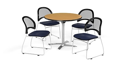 OFM 36 Inch Round Flip Top Oak Table and Four Navy Chairs (PKG-BRK-169-0051)