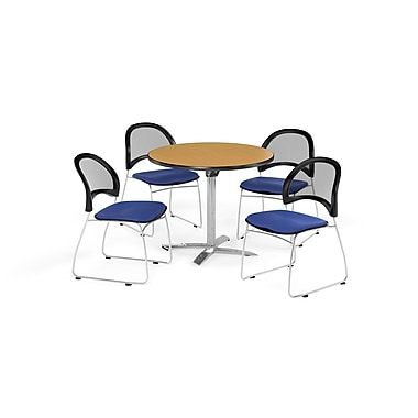 OFM 36 Inch Round Flip Top Oak Table and Four Royal Blue Chairs (PKG-BRK-169-0058)