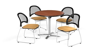 OFM 36 Inch Round Flip Top Cherry Table and Four Golden Flax Chairs (PKG-BRK-169-0005)