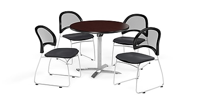 OFM 36 Inch Round Flip Top Mahogany Table and Four Slate Gray Chairs (PKG-BRK-169-0044)