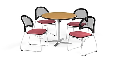 OFM 36 Inch Round Flip Top Oak Table and Four Coral Pink Chairs (PKG-BRK-169-0056)