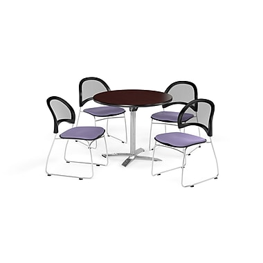 OFM 36 Inch Round Flip Top Mahogany Table and Four Lavender Chairs (PKG-BRK-169-0034)