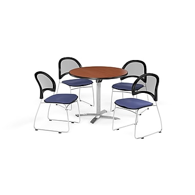 OFM 36 Inch Round Flip Top Cherry Table and Four Colonial Blue Chairs (PKG-BRK-169-0004)