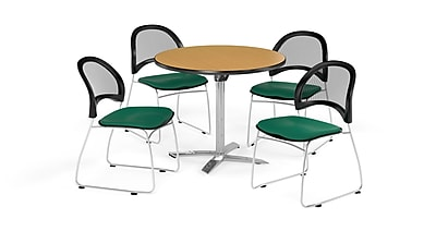 OFM 36 Inch Round Flip Top Oak Table and Four Shamrock Green Chairs (PKG-BRK-169-0049)