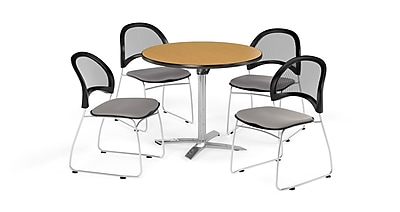 OFM 36 Inch Round Flip Top Oak Table and Four Putty Chairs (PKG-BRK-169-0062)