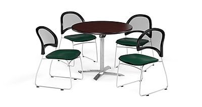 OFM 36 Inch Round Flip Top Mahogany Table and Four Forest Green Chairs (PKG-BRK-169-0047)