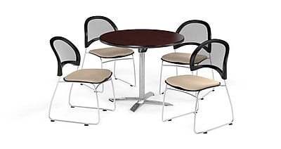 OFM 36 Inch Round Flip Top Mahogany Table and Four Khaki Chairs (PKG-BRK-169-0041)