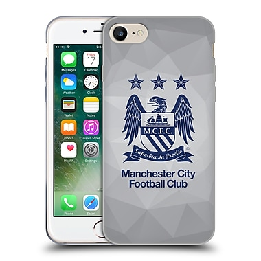 Official Manchester City Man City Fc Crest Geometric Grey Full Obsidian Blue Soft Gel Case For Apple Iphone 7