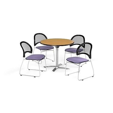 OFM 36 Inch Round Flip Top Oak Table and Four Lavender Chairs (PKG-BRK-169-0050)