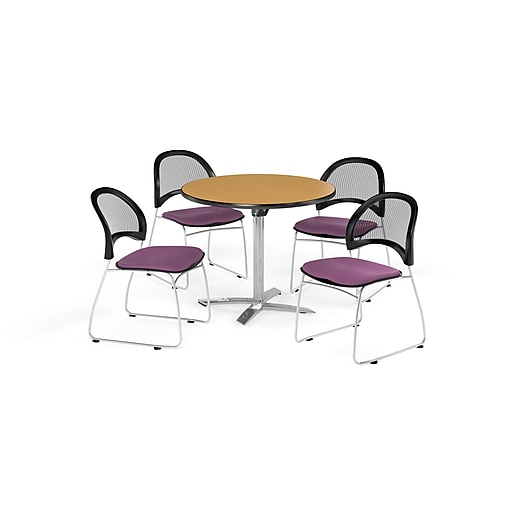 OFM 36 Inch Round Flip Top Oak Table and Four Plum Chairs (PKG-BRK-169-0061)