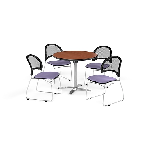 OFM 36 Inch Round Flip Top Cherry Table and Four Lavender Chairs (PKG-BRK-169-0002)