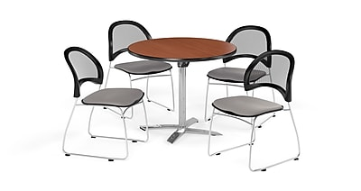 OFM 36 Inch Round Flip Top Cherry Table and Four Putty Chairs (PKG-BRK-169-0014)