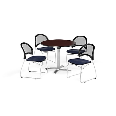 OFM 36 Inch Round Flip Top Mahogany Table and Four Navy Chairs (PKG-BRK-169-0035)
