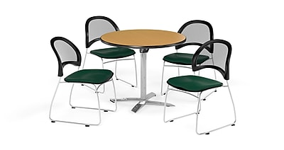 OFM 36 Inch Round Flip Top Oak Table and Four Forest Green Chairs (PKG-BRK-169-0063)