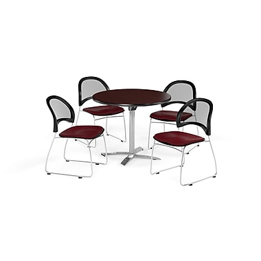 OFM 36 Inch Round Flip Top Mahogany Table and Four Burgundy Chairs (PKG-BRK-169-0043)