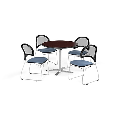 OFM 36 Inch Round Flip Top Mahogany Table and Four Cornflower Blue Chairs (PKG-BRK-169-0038)