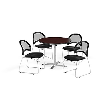 OFM 36 Inch Round Flip Top Mahogany Table and Four Black Chairs (PKG-BRK-169-0048)