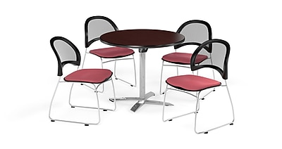 OFM 36 Inch Round Flip Top Mahogany Table and Four Coral Pink Chairs (PKG-BRK-169-0040)