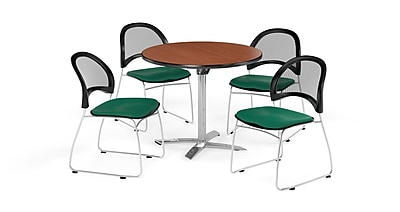 OFM 36 Inch Round Flip Top Cherry Table and Four Shamrock Green Chairs (PKG-BRK-169-0001)