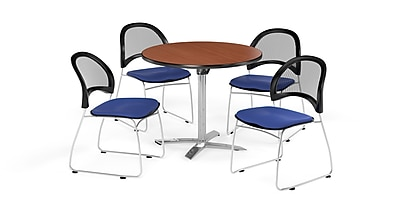 OFM 36 Inch Round Flip Top Cherry Table and Four Royal Blue Chairs (PKG-BRK-169-0010)