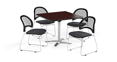 OFM 36 Inch Square Flip Top Mahogany Table and Four Slate Gray Chairs (PKG-BRK-170-0044)