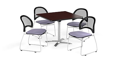 OFM 36 Inch Square Flip Top Mahogany Table and Four Lavender Chairs (PKG-BRK-170-0034)