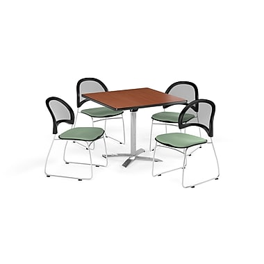OFM 36 Inch Square Flip Top Cherry Table and Four Sage Green Chairs (PKG-BRK-170-0007)